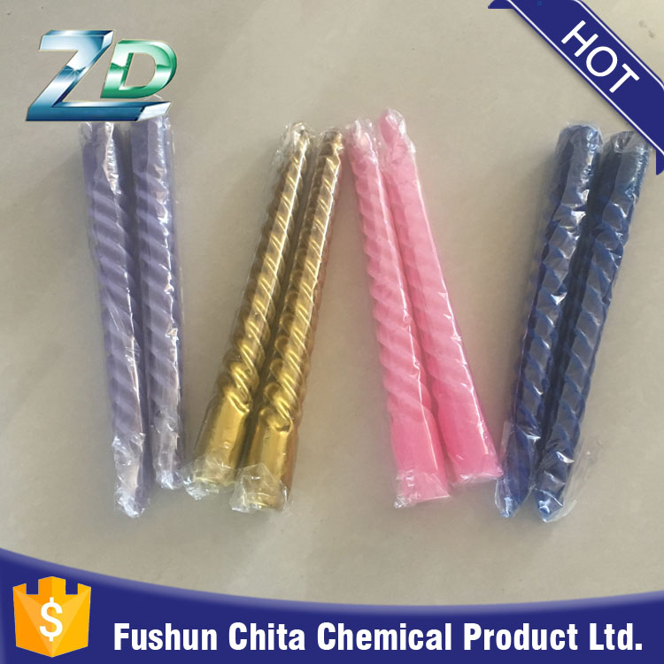 Paraffin wax and stearic acid material home decoration use colorful taper candle