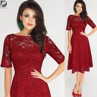 Wholesales Latest Design Elegant Women Clothing Red Lace Embroidered Dress