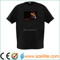 High quality sound activated music Mario led el t shirt