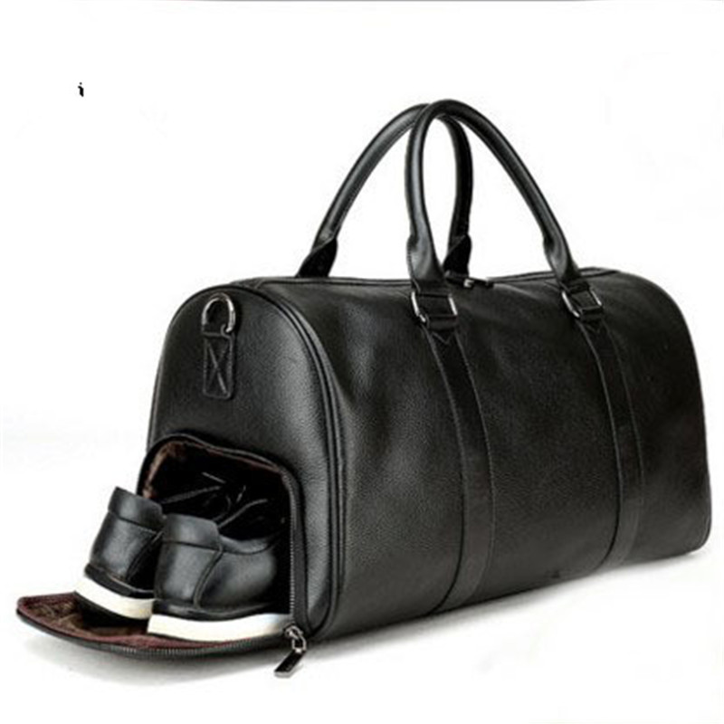 Fashion business men duffle bag weekend travel gym luggage bag with independent shoes compartment