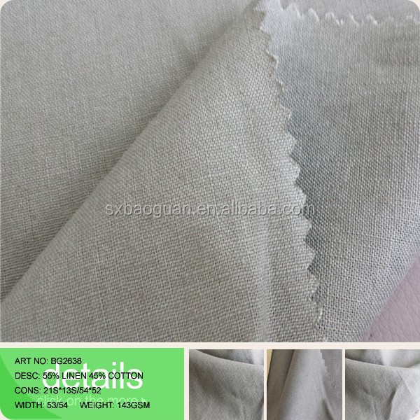 2015 High Quality Yarn Dyed Blended Linen Cotton Fabric Woven Fabric