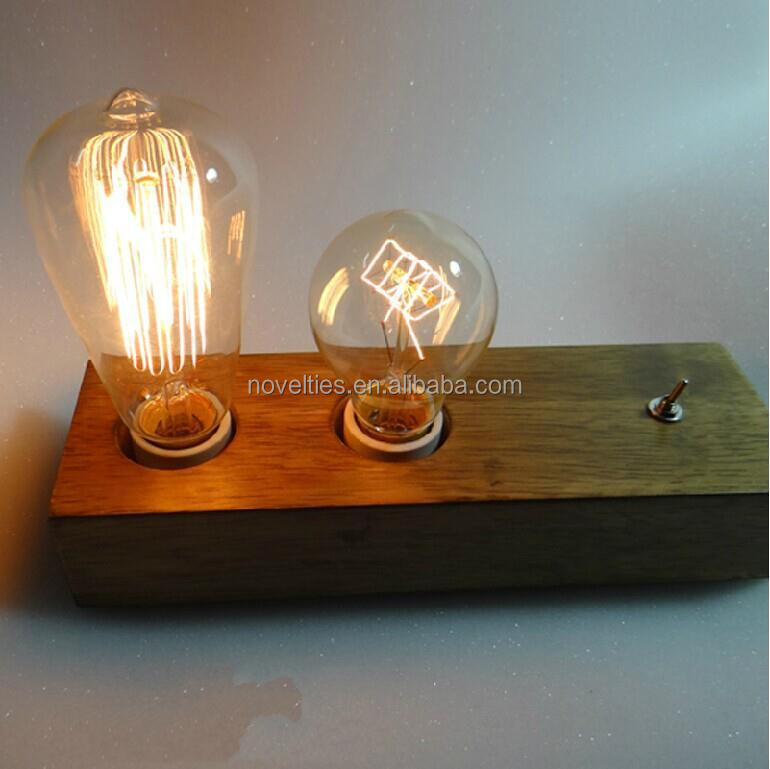 Double head Edison bulbs table lamp With Handmade Wooden Lampbase