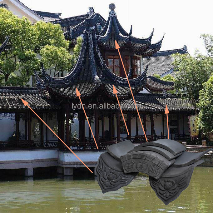 Chinese Style Gazebo With Grey Clay Roof Tiles