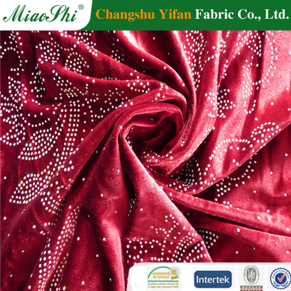 Lower price elastic two-colored polyester velour with diamond fabric from factory