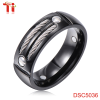 2015 Powell Newest Arrival stainless steel cable, titanium ring core, blank ring for inlay can be custom online