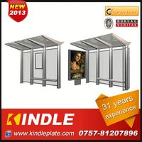 outdoor galvanized metal public modern prefab solar garage carport designs bus station with advertising billboard