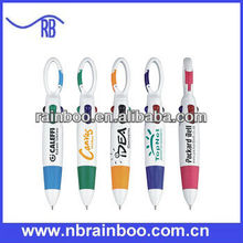 Hot selling plastic mini multi color ink pens with plastic carabiner for promotion