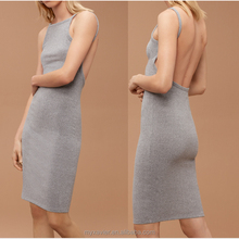 Summer dress rib-knit contains stretch for a close fit and back open skinny fit dresses