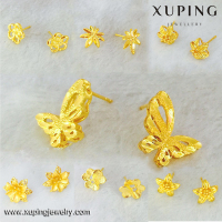 92286 xuping fashion women earring, new designs jhumka gold earring, heart shape zircon 24k gold plated earring