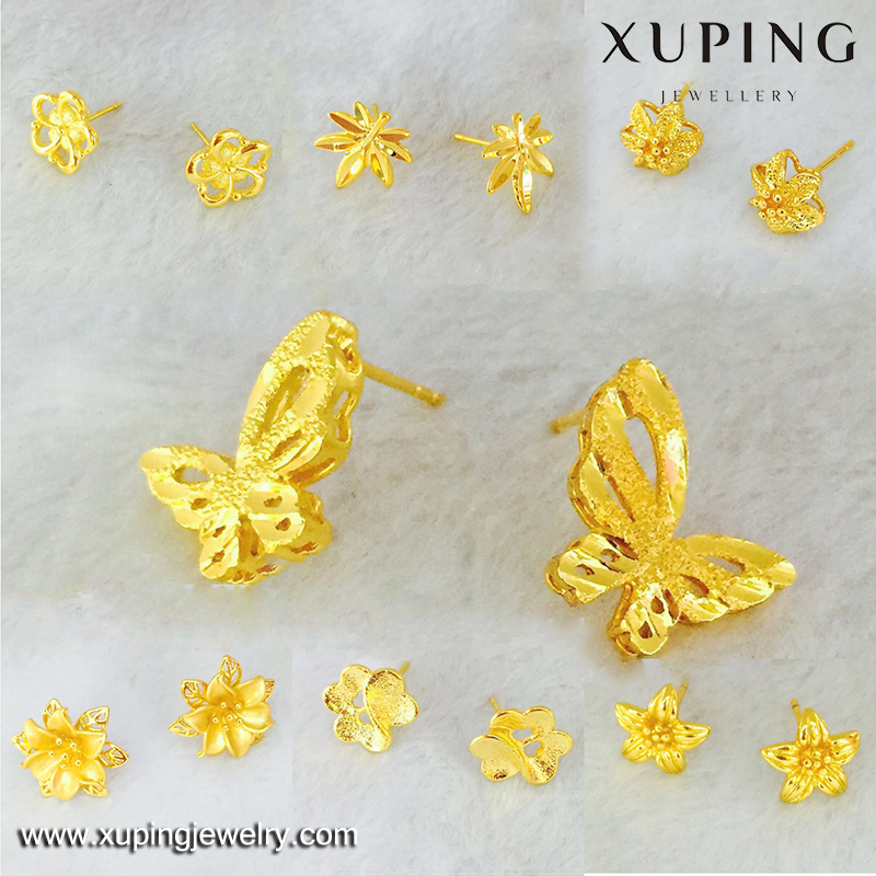 xuping fashion women earring, new designs jhumka gold earring, heart shape zircon 24k gold plated earring
