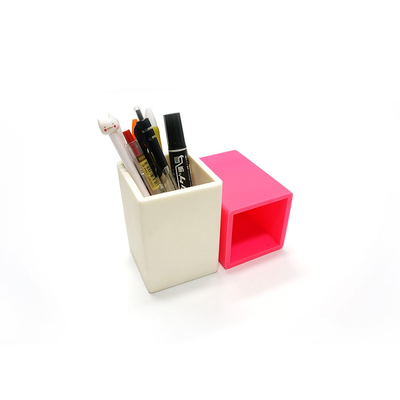 Dust-Resistant Silicone Rubber Pencil Case Rectangular Pen Holder