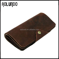Fashion Style Coffee Brown Long Style Buckle Natural Genuine Man Leather Wallet