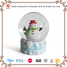 Resin Winter Snowman Glass Snow Ball,Polyresin Snowman Glass Snow Globe,Diameter 6.5cm 8cm 10cm 12cm Glass Snow Globe
