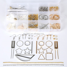 Hot Sale 15 lattice boxed Mixed color Freshwater shellfish combination DIY earring accessories package DIY Beads Kits Set