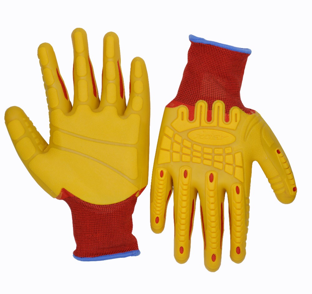 High Performance Heavy Duty Work Anti-Vibration Anti-impact Rubber Foam Polyester Liner Latex Protective Work Glove