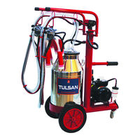 TULSAN Lux Type Double Milking Machine / Regular Oily / Stainless Steel Bucket / Silicone Liners (Cow)