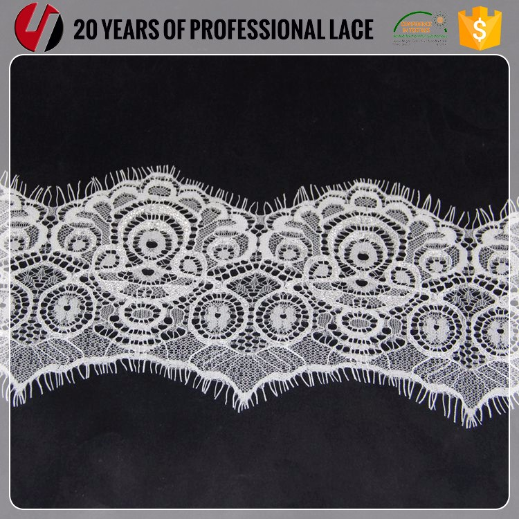 2017 New Design Fabric Nylon White Eyelash Lace
