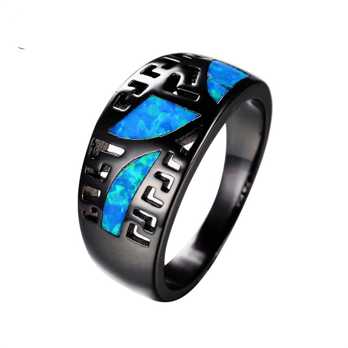 2016 SJ Hot Season SJRB0915 European Promotional Brass Lead Free Black Plated Blue Opal Simulated Gemstone Women Ring for Party