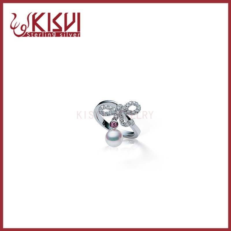 bow shell pearl rings 925 Sterling Silver rhodium Rings with low price