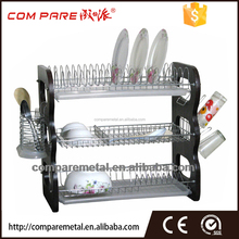 Kitchen accessory polished two tier metal stainless steel dish rack