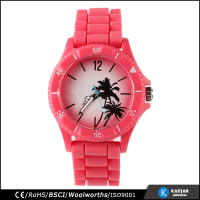 rotating bezel quartz movt brand your own watches women, red silicone strap watch