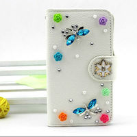 For iPhone 4 4S Luxury Handcraft wallet leather case with rhinestone lovely girl case style design