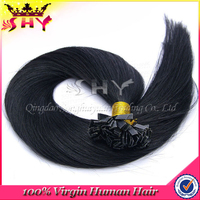 Top quality factory price shy hair extension silky straight flat tip hair extensions