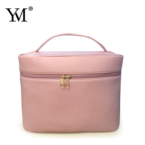 Small soft leather cosmetic case for travel