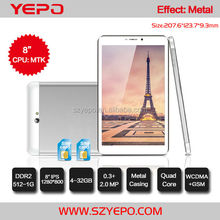 Super Slim Metal Android 4.4 O/S IPS 8 inch Quad Core 3G Phone Calling Tablet PC