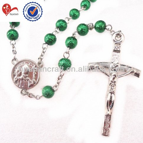 Religious glass 75mm led rosary necklace