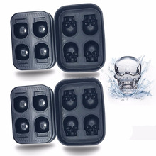 2018 newest design BPA free silicone 3D skull ice cube tray ice ball maker ice mold for halloween