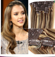 8A grade double weft human hair extension clip in hair with P colors