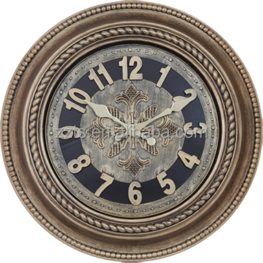20 inch big plastic round antique gold wall clock with roman arabic numbers