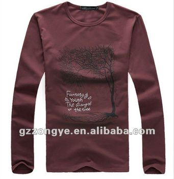Men T shirts long sleeve silk screen print round neck plain tees
