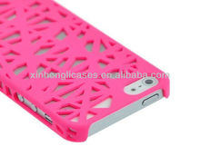 Rubberized Hard Case Cover for Apple iPhone 5 - Bird Nest (Hot Pink)