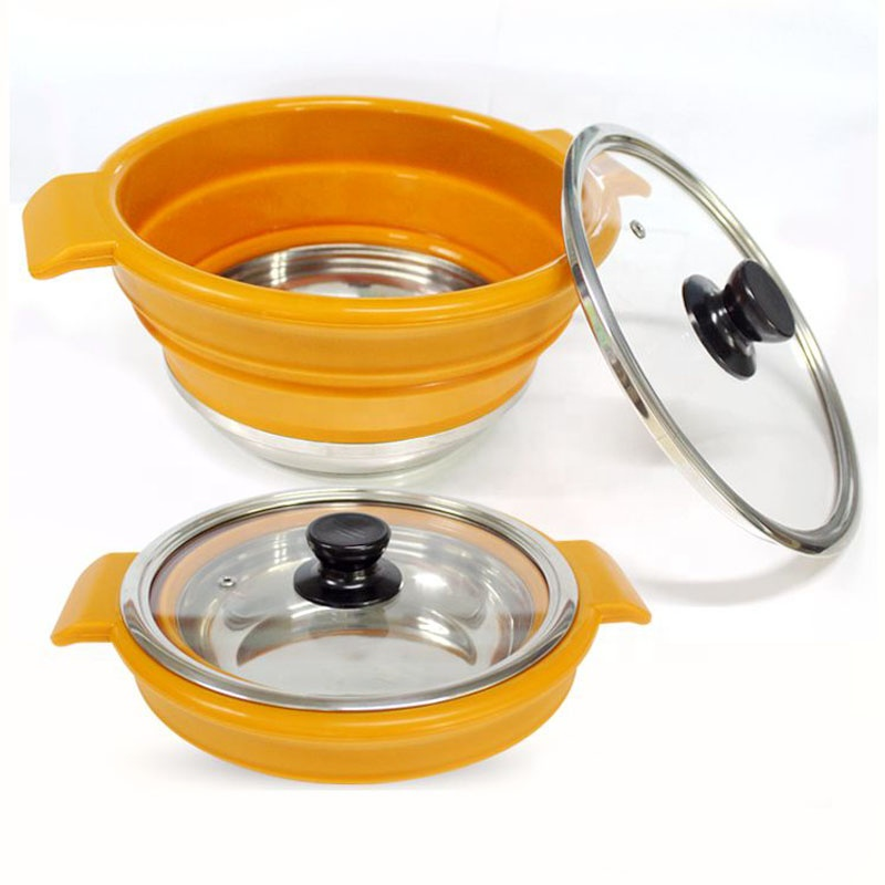 <strong>C</strong>-<strong>002</strong> Outdoor camping 2.3/3.8/5.7 Liter Collapsible Stainless Steel Bottom Silicone Cooking Pot