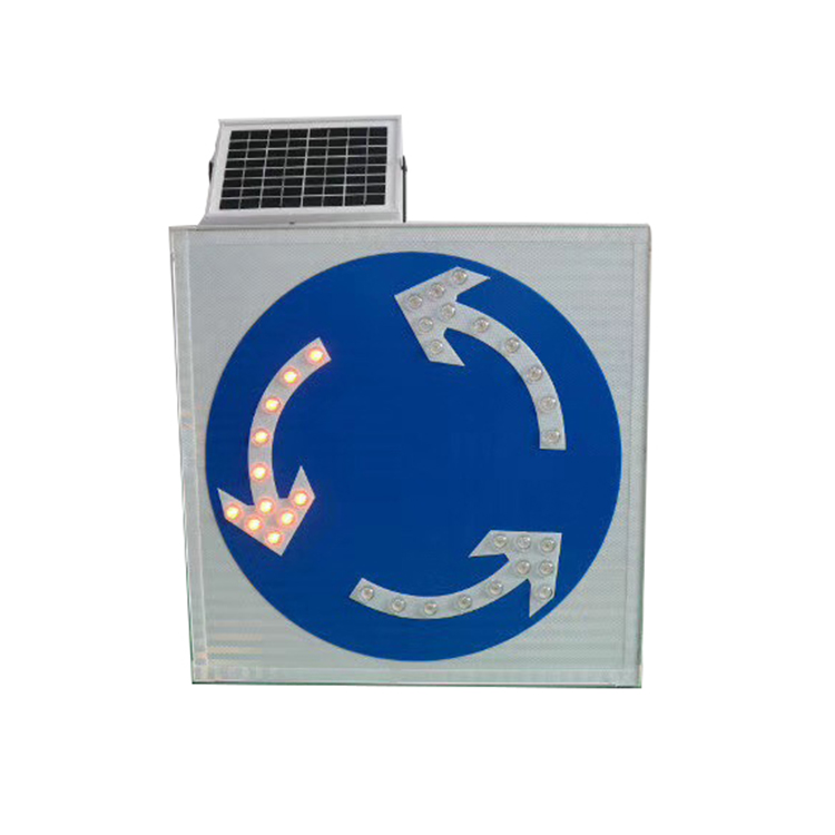 Solar powered arrow direction sign led road traffic safety sign