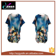 plus size floral painted women silk nightdress
