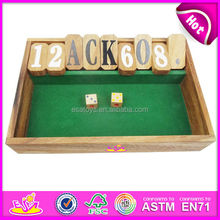 Shut the box board game made of solid rubber wood W11A011