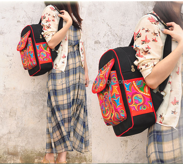 2017 hot sale Hmong style canvas girls hmong embroidery bag