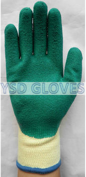 Crinkle latex palm coated gloves