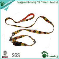 wholesale nylon webbing custom print heated dog leashes and collars with padded handle