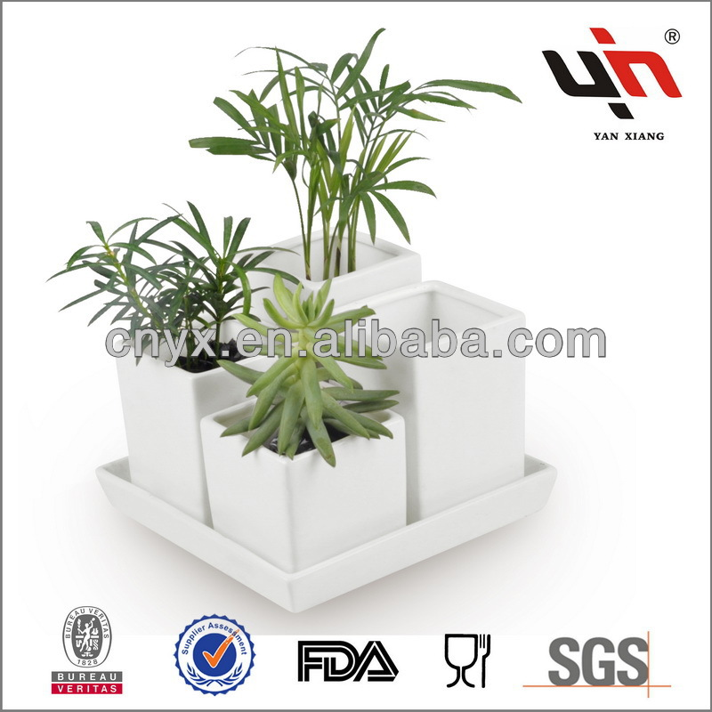 Y2037 New Design White Glazed Ceramic Flower Pot