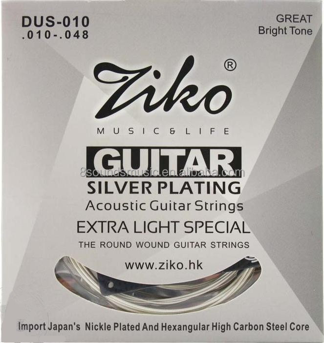 wholesale free shipping ZIKO 010-048 DUS-010 Acoustic guitar strings silver plating guitar parts musical instruments Accessories