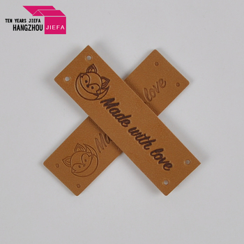 Customized Brown Leather Patch Jeans Leather Patch Labels