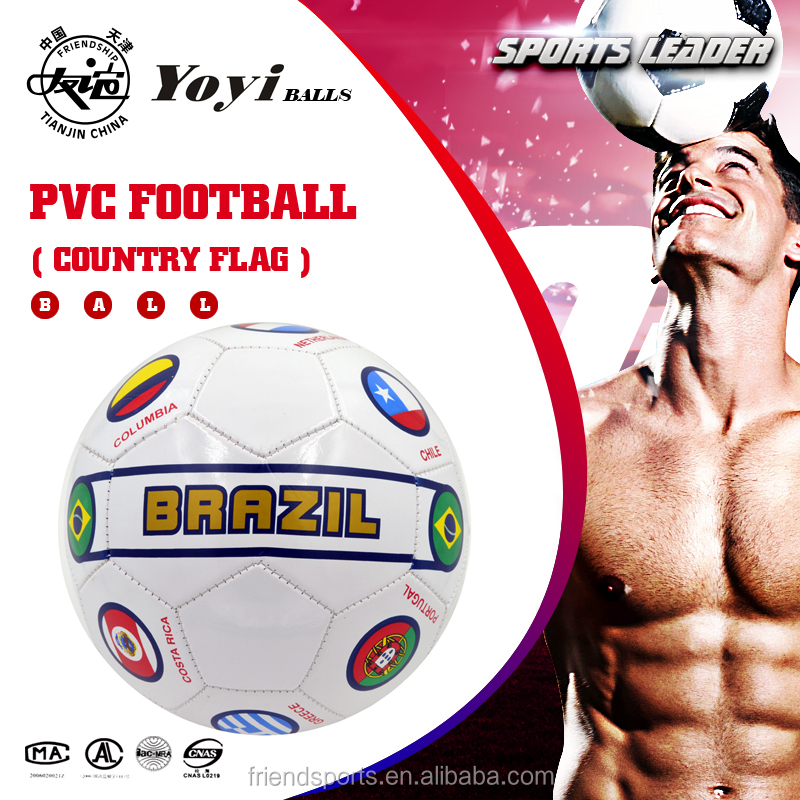hot popular Brazil country flag machine stitched promo cheaper football size 5 PVC leather soccer ball