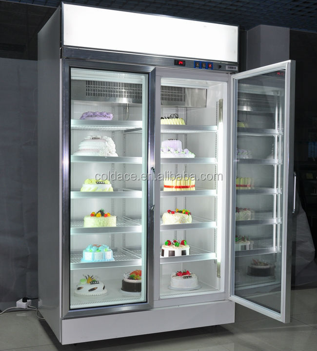 Cake ice cream display showcase refrigerator,cake cabinet glass door 1000 liter