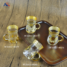 Gold Plated Arabic Espresso Coffee Cup Set Cafe Latte Glass Cup 100ml with Handle