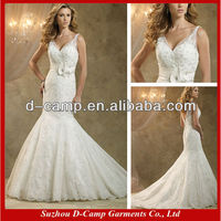 WD-1288 Sexy plunging V neckline lace mermaid wedding dress patterns 2015 wedding clothes