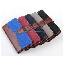Wallet Case for Nexus 5, Denim Fabric and PU Leather Flip Case